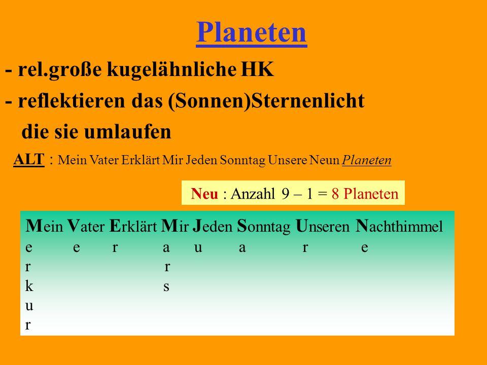 Einteilung (verschiede´ne Möglichkeiten) erdartige 4 jupiterartige 4 Merkur (Planet der Extreme) Venus (Morgen & Abendstern) Erde (belebter PL) 1M Mars ( der Rote) 2 M Jupiter (der Riese ) 16 M Saturn (Herr der Ringe) 18 M Uranus ( der Gekippte 98 °) 15M Neptun (der Blaue) 8 M Pluto – (extra Grenzgänger) Radius (Größe) Masse ( m ) mittlere Dichte klein groß (fest) groß klein (gasförmig)