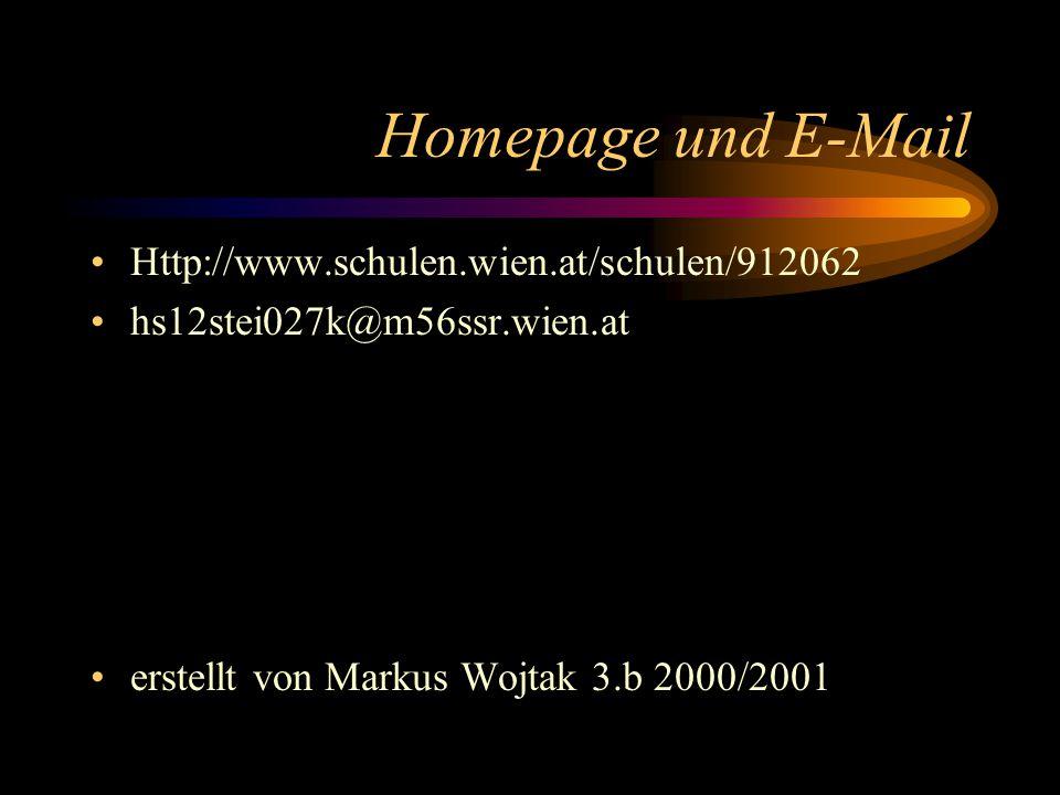 Homepage und E-Mail Http://www.schulen.wien.at/schulen/912062 hs12stei027k@m56ssr.wien.at erstellt von Markus Wojtak 3.b 2000/2001