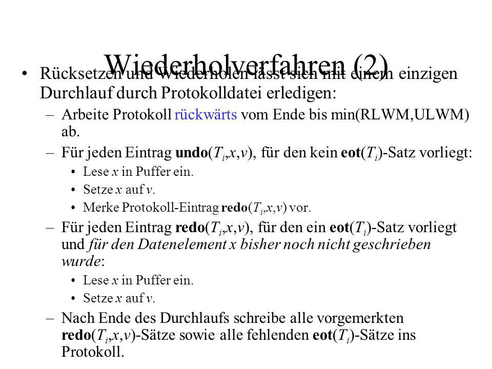 Wiederholverfahren (2) Rücksetzen und Wiederholen lässt sich mit einem einzigen Durchlauf durch Protokolldatei erledigen: –Arbeite Protokoll rückwärts vom Ende bis min(RLWM,ULWM) ab.