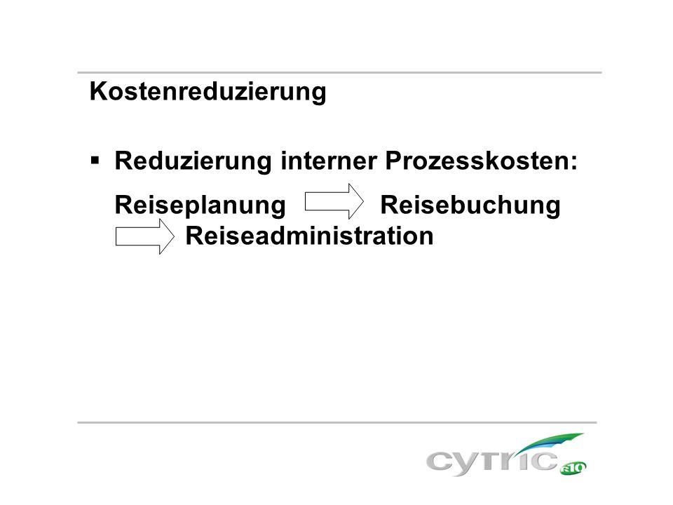 Kostenreduzierung  Reduzierung interner Prozesskosten: Reiseplanung Reisebuchung Reiseadministration
