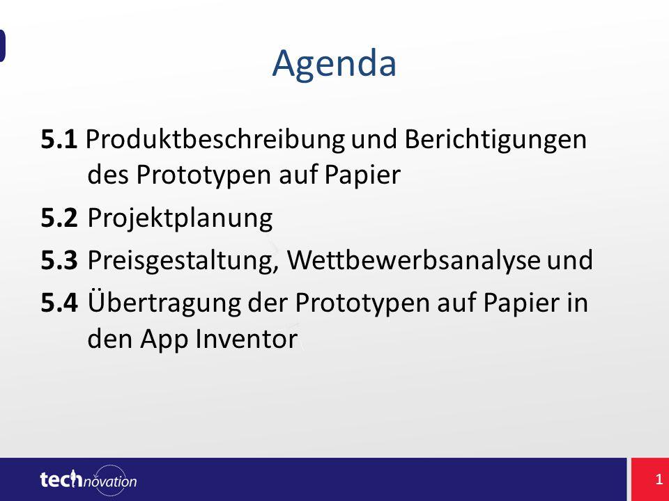 Agenda 5.1 Produktbeschreibung und Berichtigungen des Prototypen auf Papier 5.2 Projektplanung 5.3 Preisgestaltung, Wettbewerbsanalyse und 5.4 Übertra