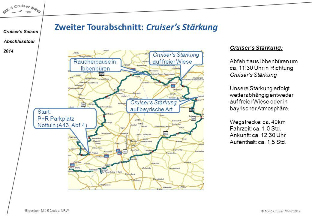 © MX-5 Cruiser NRW 2014 Zweiter Tourabschnitt: Cruiser's Stärkung Cruiser's Stärkung: Abfahrt aus Ibbenbüren um ca.