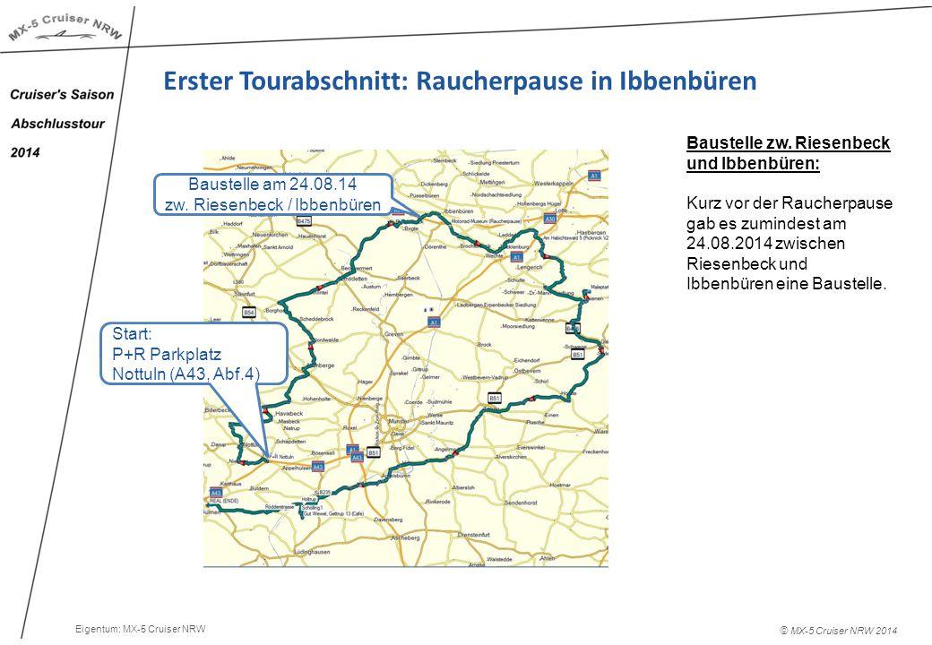 © MX-5 Cruiser NRW 2014 Erster Tourabschnitt: Raucherpause in Ibbenbüren Baustelle zw.