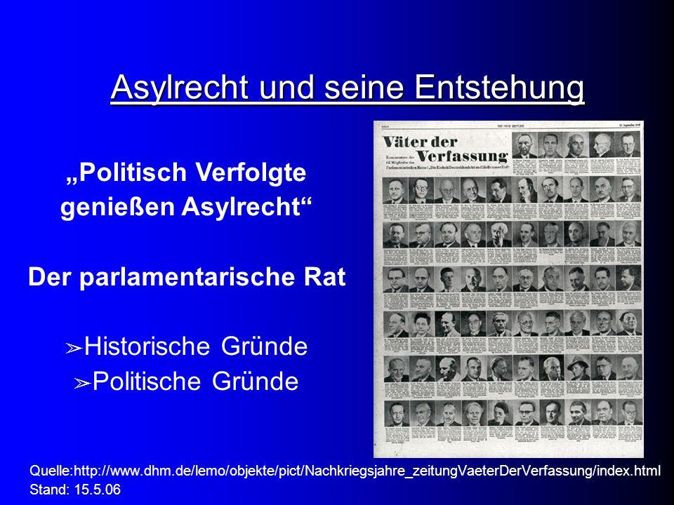 """Asylrecht und seine Entstehung """"Politisch Verfolgte genießen Asylrecht"""" Der parlamentarische Rat ➢ Historische Gründe ➢ Politische Gründe Quelle:http:"""