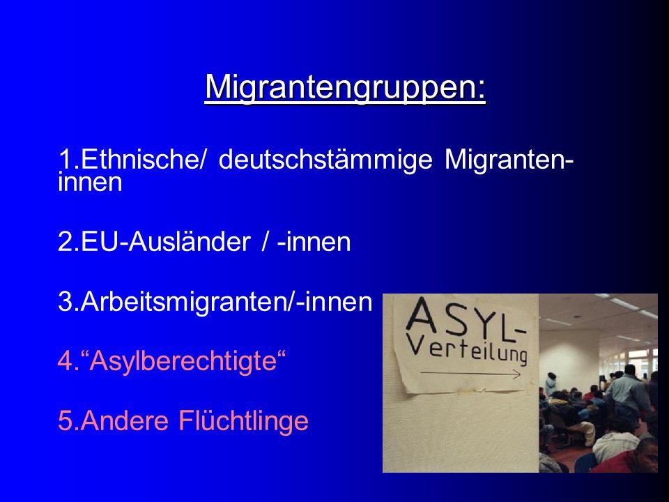 "Migrantengruppen: 1.Ethnische/ deutschstämmige Migranten- innen 2.EU-Ausländer / -innen 3.Arbeitsmigranten/-innen 4.""Asylberechtigte"" 5.Andere Flüchtl"