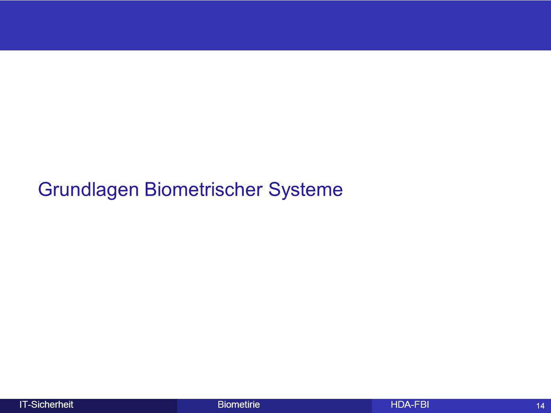 14 BiometirieHDA-FBIIT-Sicherheit Grundlagen Biometrischer Systeme 14