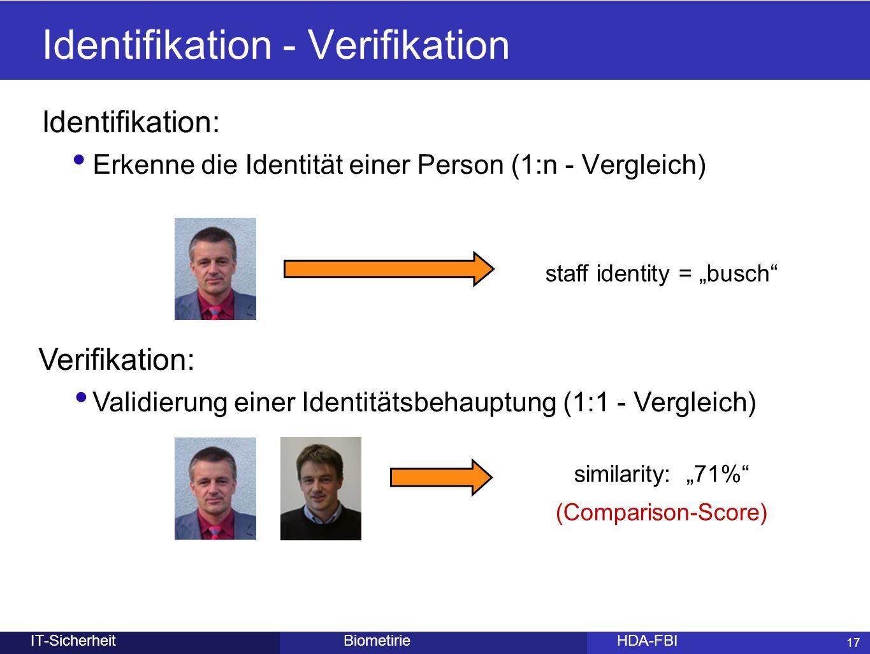 17 BiometirieHDA-FBIIT-Sicherheit Identifikation - Verifikation Identifikation: Erkenne die Identität einer Person (1:n - Vergleich) 17 staff identity
