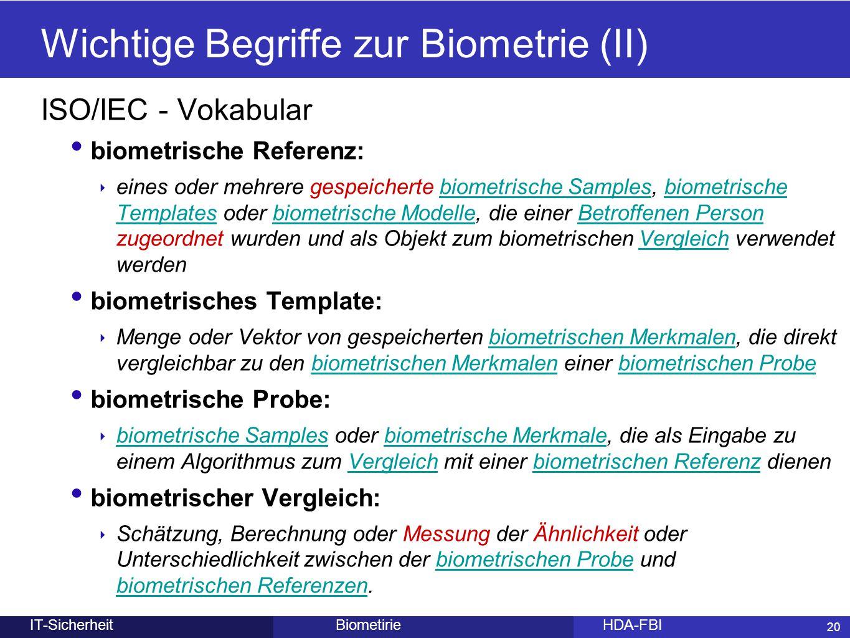 20 BiometirieHDA-FBIIT-Sicherheit Wichtige Begriffe zur Biometrie (II) ISO/IEC - Vokabular biometrische Referenz: ‣ eines oder mehrere gespeicherte bi