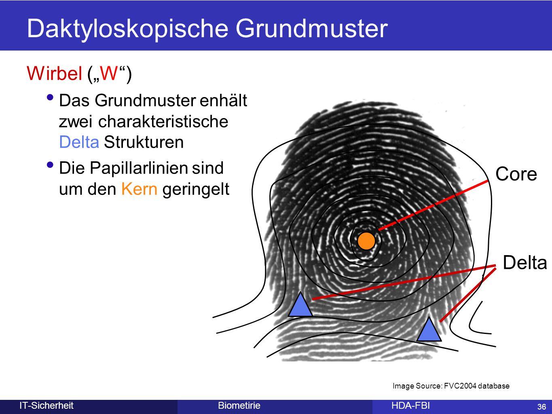 """36 BiometirieHDA-FBIIT-Sicherheit Daktyloskopische Grundmuster Wirbel (""""W"""") Das Grundmuster enhält zwei charakteristische Delta Strukturen Die Papilla"""