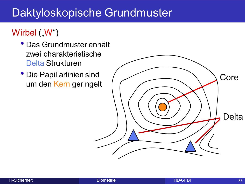 """37 BiometirieHDA-FBIIT-Sicherheit Daktyloskopische Grundmuster Wirbel (""""W"""") Das Grundmuster enhält zwei charakteristische Delta Strukturen Die Papilla"""
