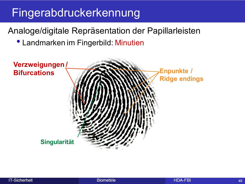 40 BiometirieHDA-FBIIT-Sicherheit Fingerabdruckerkennung Analoge/digitale Repräsentation der Papillarleisten Landmarken im Fingerbild: Minutien 40 Enp