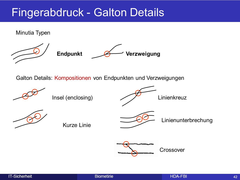 42 BiometirieHDA-FBIIT-Sicherheit Fingerabdruck - Galton Details Endpunkt Insel (enclosing) Linienkreuz Kurze Linie Linienunterbrechung Galton Details