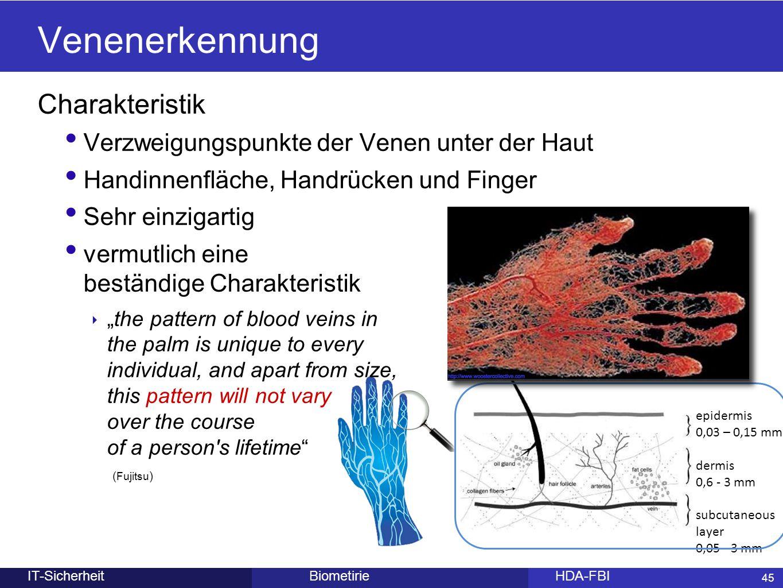 45 epidermis 0,03 – 0,15 mm dermis 0,6 - 3 mm subcutaneous layer 0,05 - 3 mm BiometirieHDA-FBIIT-Sicherheit Venenerkennung Charakteristik Verzweigungs