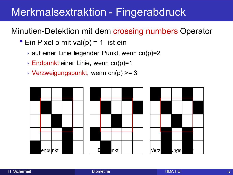 54 BiometirieHDA-FBIIT-Sicherheit Merkmalsextraktion - Fingerabdruck Minutien-Detektion mit dem crossing numbers Operator Ein Pixel p mit val(p) = 1 i
