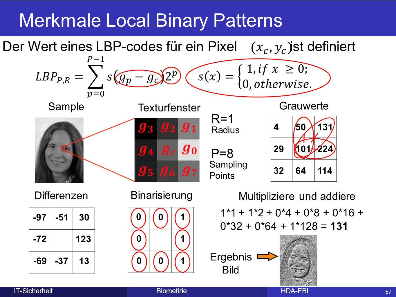 57 BiometirieHDA-FBIIT-Sicherheit Merkmale Local Binary Patterns 57 450131 29101224 3264114 Sample Grauwerte P=8 R=1 Differenzen -97 Radius Sampling P