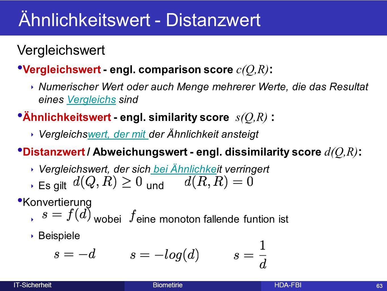 63 BiometirieHDA-FBIIT-Sicherheit Ähnlichkeitswert- Distanzwert 63 Vergleichswert Vergleichswert - engl. comparison score c(Q,R) : ‣ Numerischer Wert