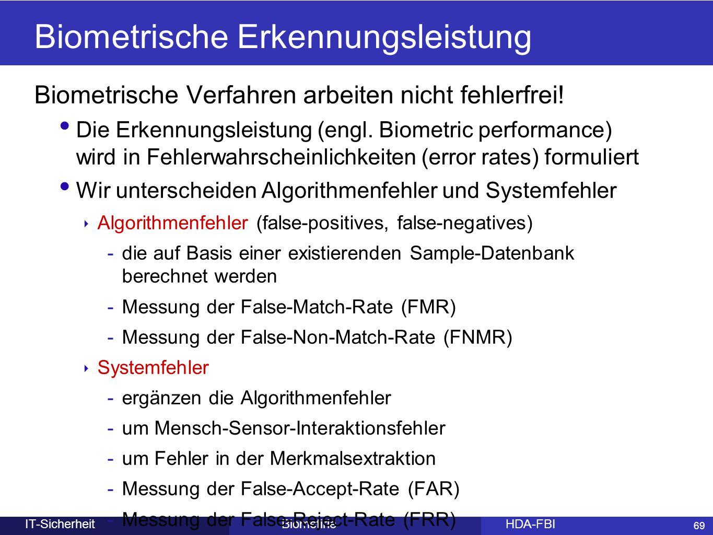 69 BiometirieHDA-FBIIT-Sicherheit Biometrische Erkennungsleistung Biometrische Verfahren arbeiten nicht fehlerfrei! Die Erkennungsleistung (engl. Biom