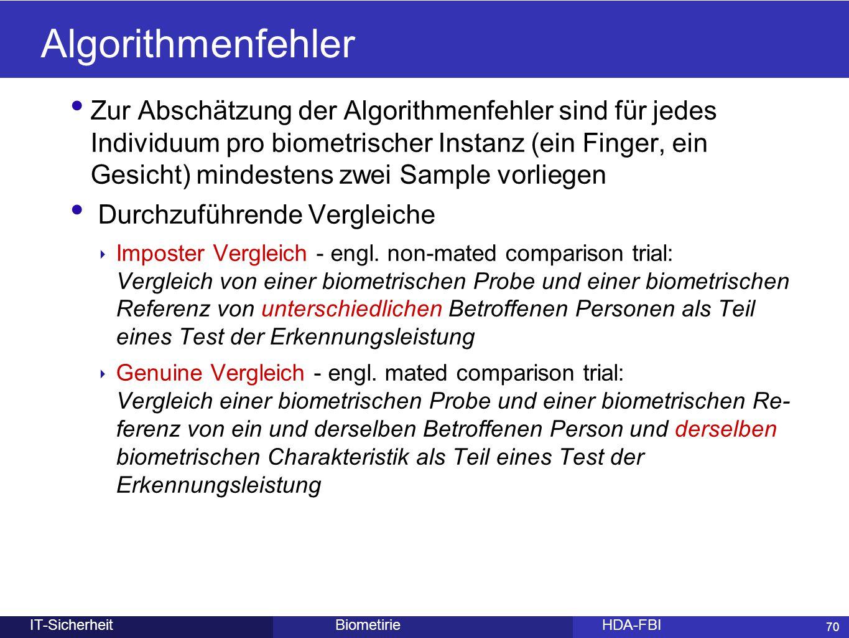 70 BiometirieHDA-FBIIT-Sicherheit Algorithmenfehler Zur Abschätzung der Algorithmenfehler sind für jedes Individuum pro biometrischer Instanz (ein Fin