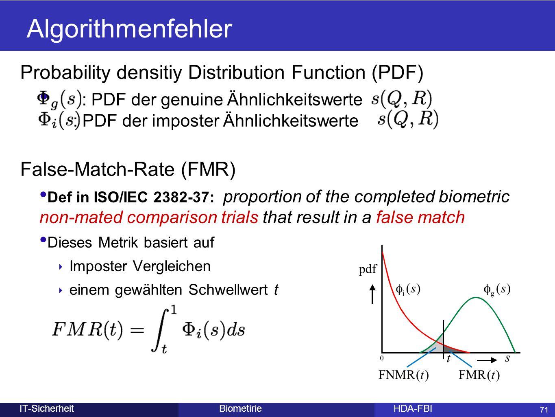71 BiometirieHDA-FBIIT-Sicherheit Algorithmenfehler Probability densitiy Distribution Function (PDF) : PDF der genuine Ähnlichkeitswerte : PDF der imp