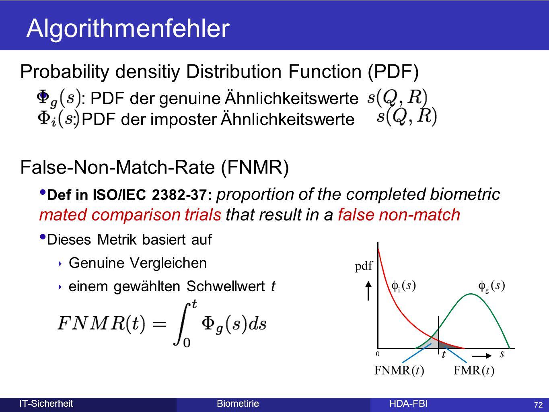 72 BiometirieHDA-FBIIT-Sicherheit Algorithmenfehler Probability densitiy Distribution Function (PDF) : PDF der genuine Ähnlichkeitswerte : PDF der imp