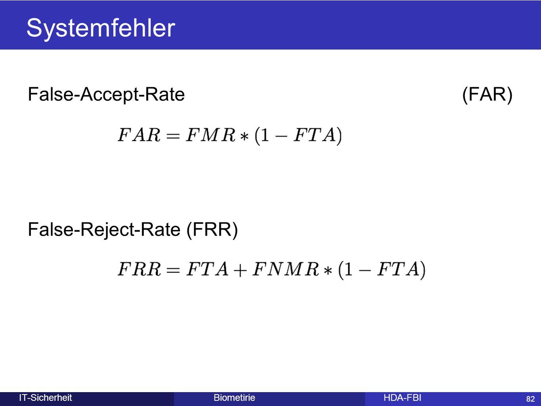 82 BiometirieHDA-FBIIT-Sicherheit False-Accept-Rate (FAR) False-Reject-Rate (FRR) Systemfehler 82