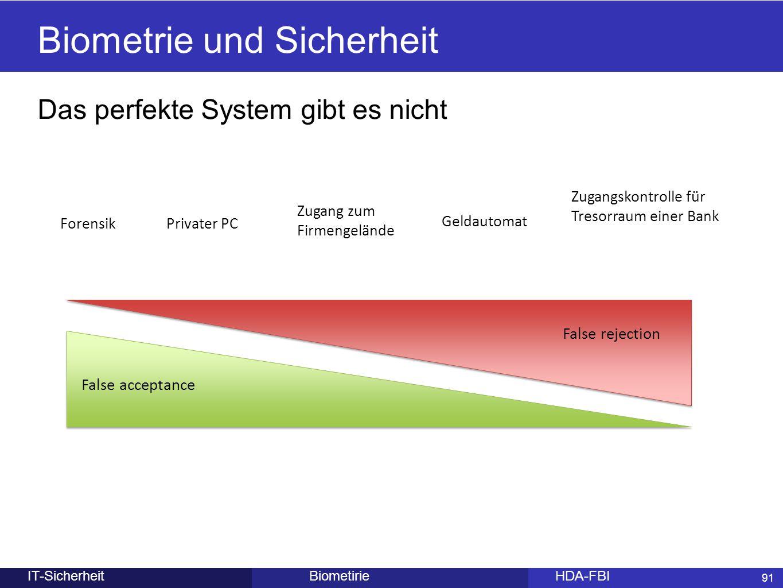 91 BiometirieHDA-FBIIT-Sicherheit Biometrie und Sicherheit Das perfekte System gibt es nicht Forensik Zugangskontrolle für Tresorraum einer Bank Priva