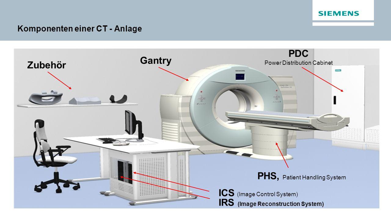 Komponenten einer CT - Anlage Gantry PHS, Patient Handling System PDC Power Distribution Cabinet ICS (Image Control System) IRS (Image Reconstruction System) Zubehör
