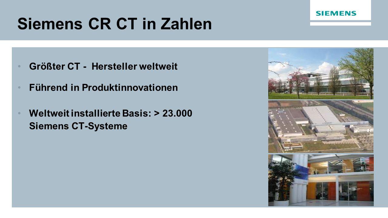 Siemens CR CT in Zahlen Größter CT - Hersteller weltweit Führend in Produktinnovationen Weltweit installierte Basis: > 23.000 Siemens CT-Systeme
