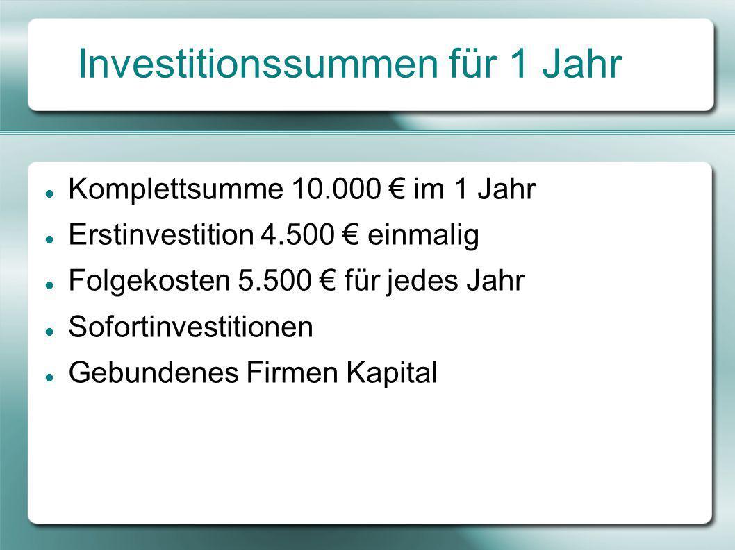Investitionssummen für 1 Jahr Komplettsumme 10.000 € im 1 Jahr Erstinvestition 4.500 € einmalig Folgekosten 5.500 € für jedes Jahr Sofortinvestitionen Gebundenes Firmen Kapital