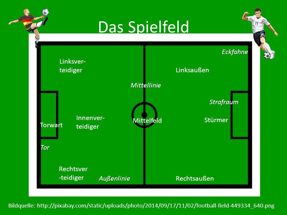 Das Spielfeld Torwart Linksver- teidiger Rechtsver -teidiger Innenver- teidiger Stürmer Mittelfeld Linksaußen Rechtsaußen Mittellinie Außenlinie Straf