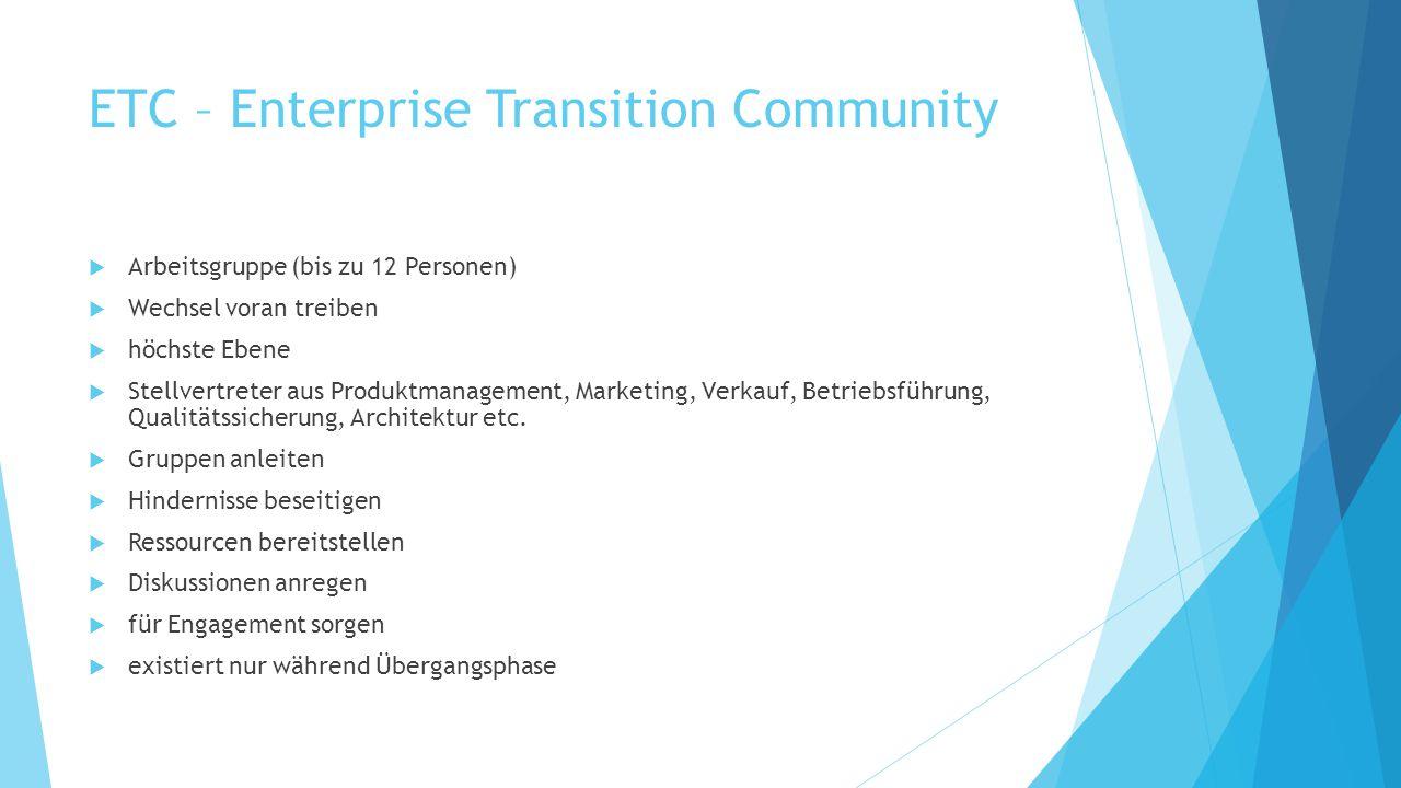 ETC – Enterprise Transition Community  Arbeitsgruppe (bis zu 12 Personen)  Wechsel voran treiben  höchste Ebene  Stellvertreter aus Produktmanagem