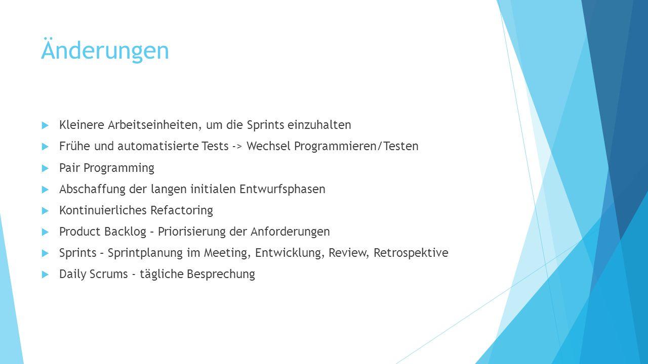 Quellen  Cohn, Mike: Agile Softwareentwicklung.Mit Scrum zum Erfolg [Suceeding with Agile, 2010].
