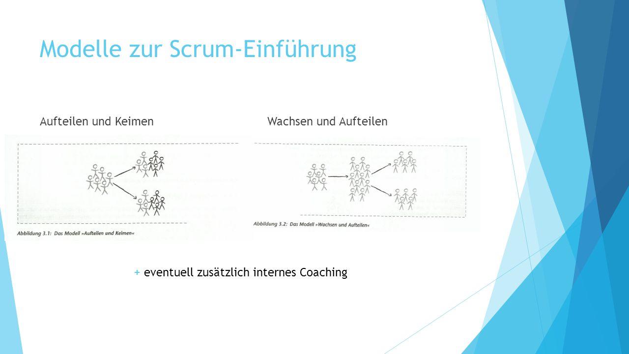 Modelle zur Scrum-Einführung Aufteilen und KeimenWachsen und Aufteilen + eventuell zusätzlich internes Coaching