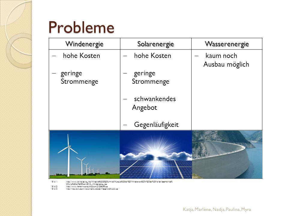 Probleme WindenergieSolarenergieWasserenergie  hohe Kosten  geringe Strommenge  hohe Kosten  geringe Strommenge  schwankendes Angebot  Gegenläuf