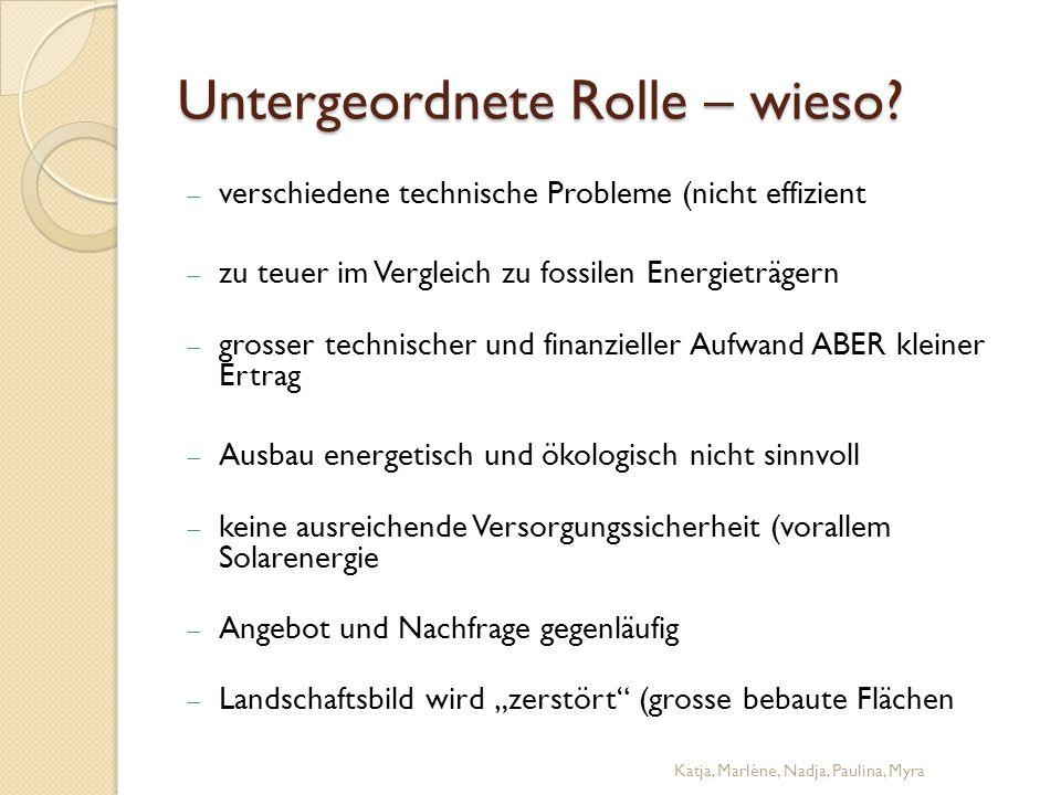 Untergeordnete Rolle – wieso?  verschiedene technische Probleme (nicht effizient  zu teuer im Vergleich zu fossilen Energieträgern  grosser technis
