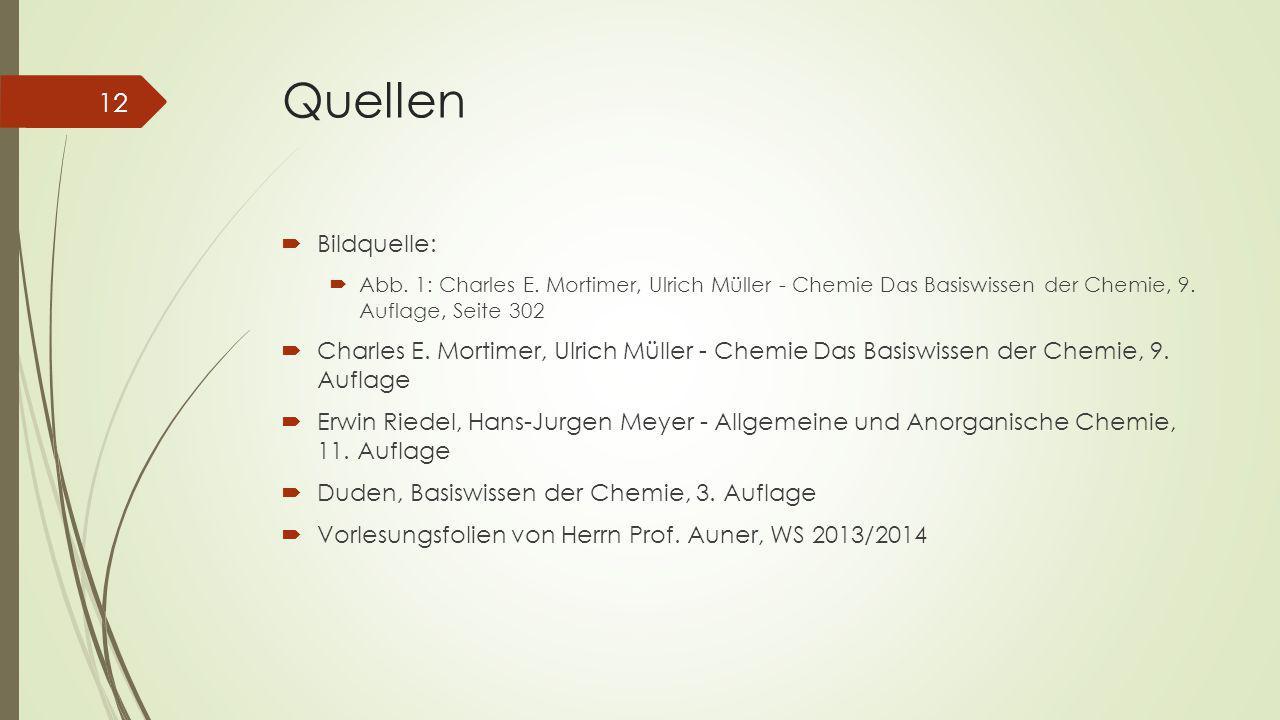 Quellen  Bildquelle:  Abb. 1: Charles E. Mortimer, Ulrich Müller - Chemie Das Basiswissen der Chemie, 9. Auflage, Seite 302  Charles E. Mortimer, U