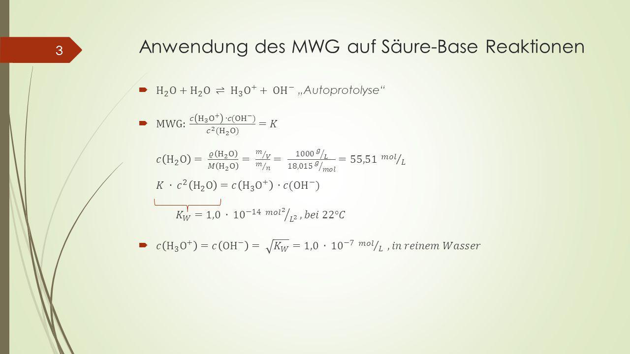 Anwendung des MWG auf Säure-Base Reaktionen 3