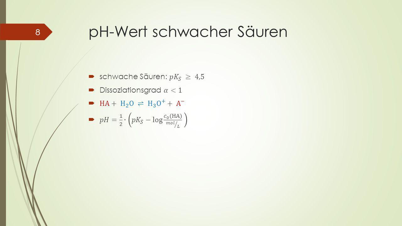 pH-Wert schwacher Säuren 8