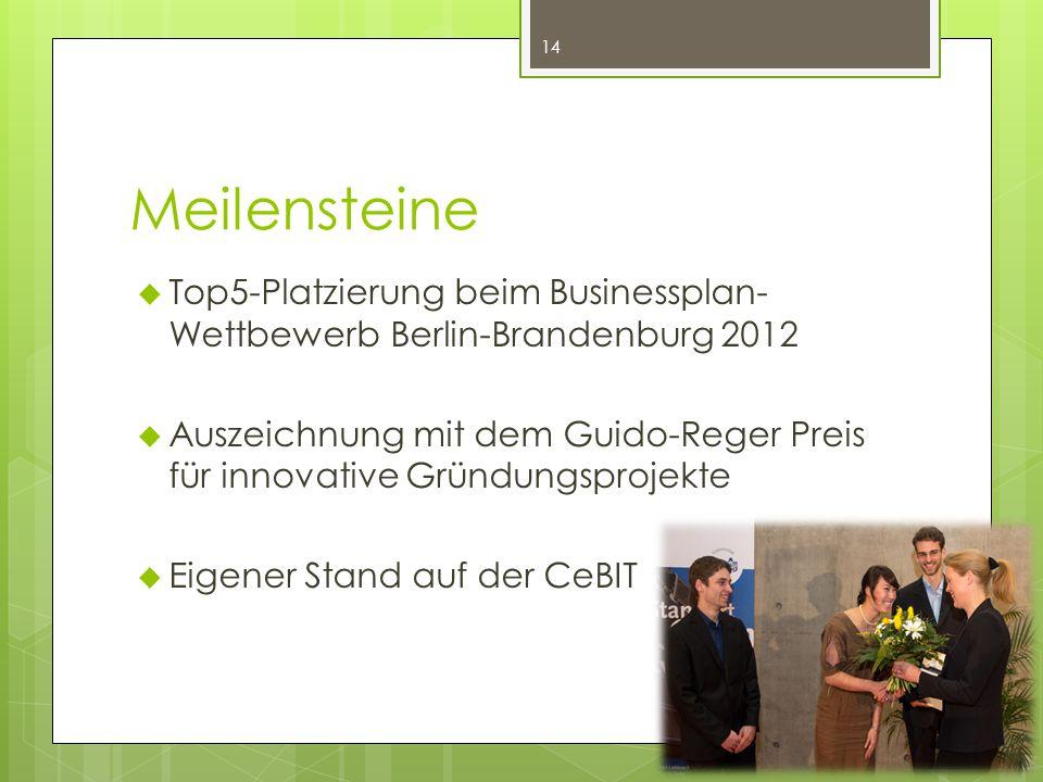 Meilensteine  Top5-Platzierung beim Businessplan- Wettbewerb Berlin-Brandenburg 2012  Auszeichnung mit dem Guido-Reger Preis für innovative Gründungsprojekte  Eigener Stand auf der CeBIT 14