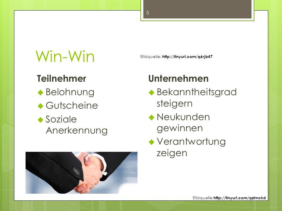 Win-Win 5 Teilnehmer  Belohnung  Gutscheine  Soziale Anerkennung Unternehmen  Bekanntheitsgrad steigern  Neukunden gewinnen  Verantwortung zeigen Bildquelle: http://tinyurl.com/q6rjb47 Bildquelle: http://tinyurl.com/qzlmckd