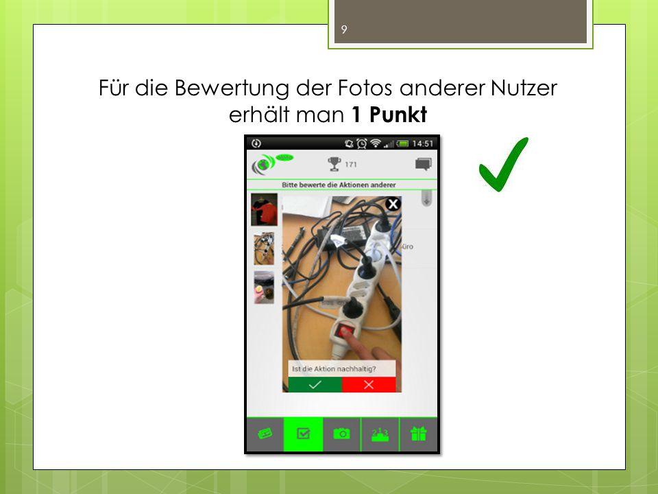 Für die Bewertung der Fotos anderer Nutzer erhält man 1 Punkt 9