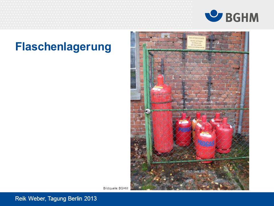 Flaschenlagerung Reik Weber, Tagung Berlin 2013 Bildquelle: BGHM