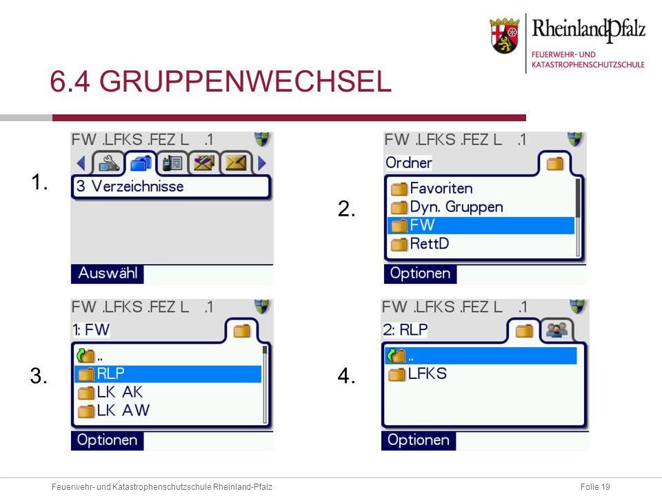 Folie 19Feuerwehr- und Katastrophenschutzschule Rheinland-Pfalz 6.4 GRUPPENWECHSEL 1. 3. 2. 4.
