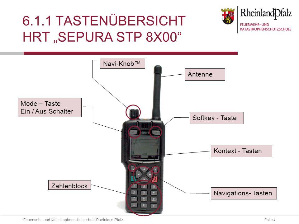 """Folie 4Feuerwehr- und Katastrophenschutzschule Rheinland-Pfalz 6.1.1 TASTENÜBERSICHT HRT """"SEPURA STP 8X00"""" Navi-Knob™ Mode – Taste Ein / Aus Schalter"""