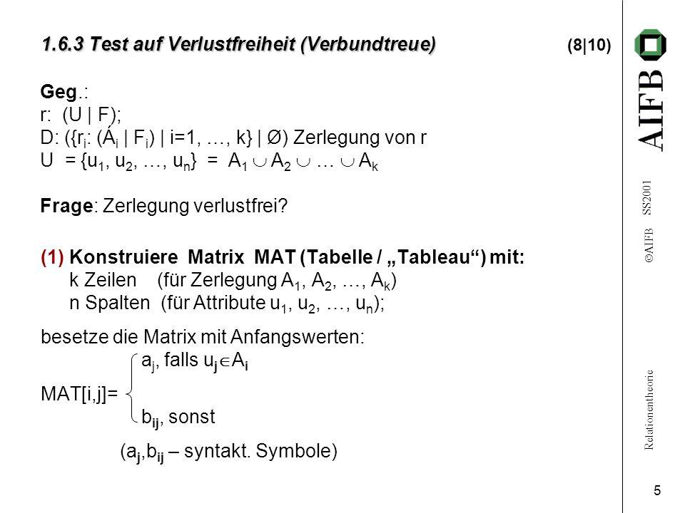Relationentheorie  AIFB SS2001 6 1.6.3 Test auf Verlustfreiheit (Verbundtreue) 1.6.3 Test auf Verlustfreiheit (Verbundtreue) (9 10) (2)Wiederhole: - Wähle ein X  Y  F; - suche die Zeilen von MAT, die in den X-Spalten übereinstimmen; - setze in diesen Zeilen die Y-Werte gleich -dabei: bevorzuge a j (vor b ij ) d.h.