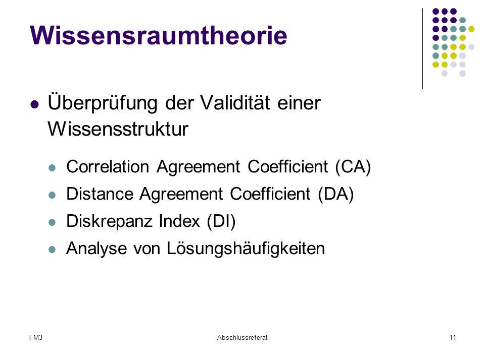FM3Abschlussreferat11 Wissensraumtheorie Überprüfung der Validität einer Wissensstruktur Correlation Agreement Coefficient (CA) Distance Agreement Coe