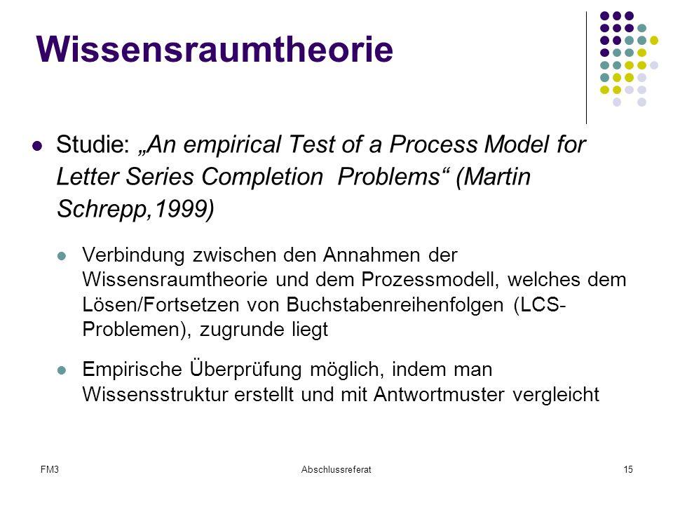 "FM3Abschlussreferat15 Wissensraumtheorie Studie: ""An empirical Test of a Process Model for Letter Series Completion Problems"" (Martin Schrepp,1999) Ve"