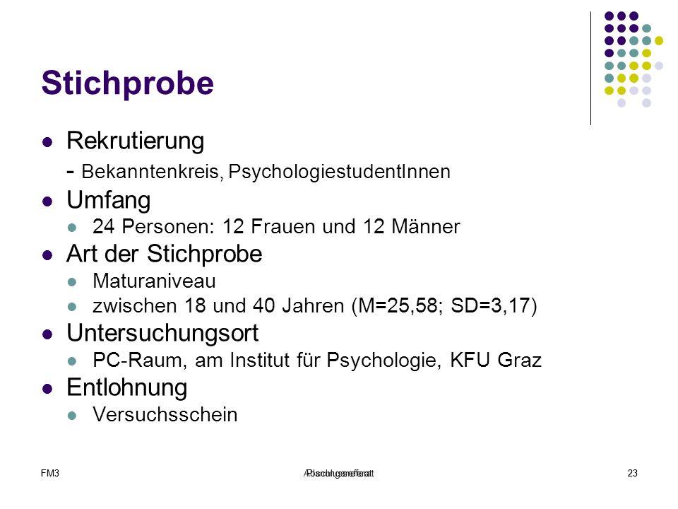 FM3Abschlussreferat23FM3Planungsreferat23 Stichprobe Rekrutierung - Bekanntenkreis, PsychologiestudentInnen Umfang 24 Personen: 12 Frauen und 12 Männe