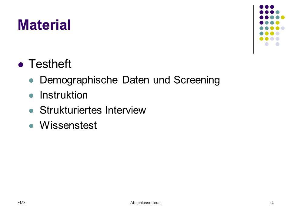 FM3Abschlussreferat24 Material Testheft Demographische Daten und Screening Instruktion Strukturiertes Interview Wissenstest