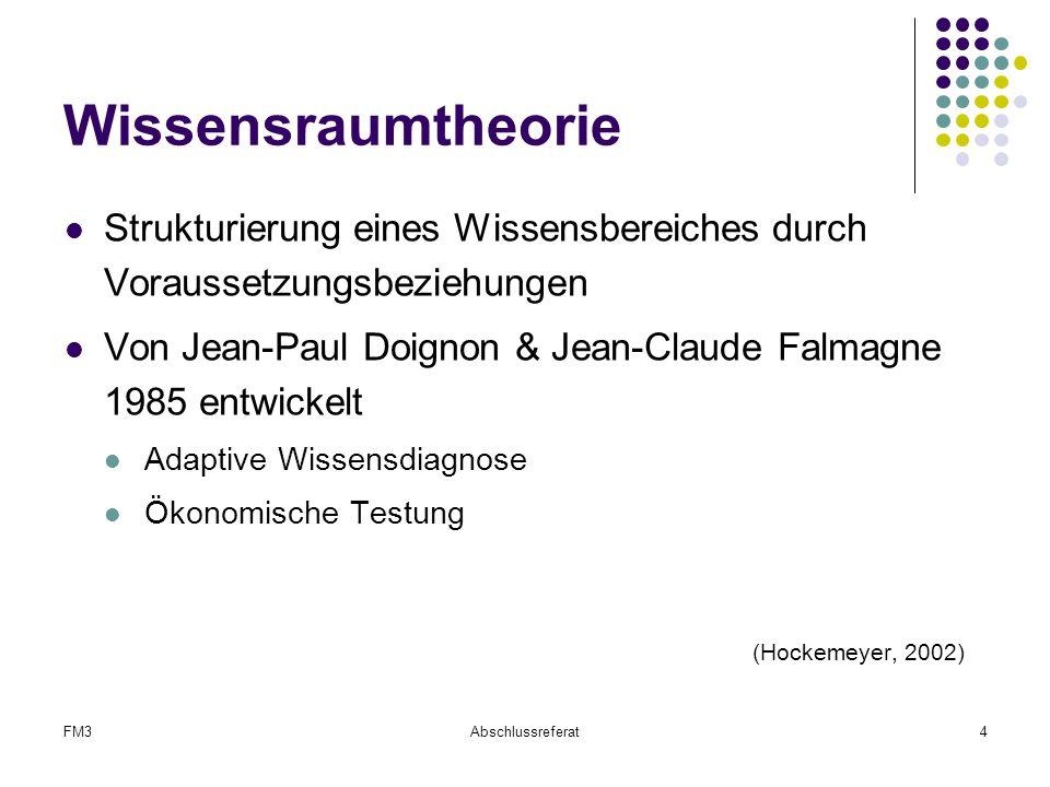 FM3Abschlussreferat4 Wissensraumtheorie Strukturierung eines Wissensbereiches durch Voraussetzungsbeziehungen Von Jean-Paul Doignon & Jean-Claude Falm